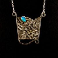 Opal, Sterling, Gold Pendant 213
