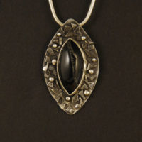 Onyx with Druzy, Sterling Pendant 292