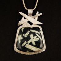 Chinese Writing Stone, Sterling, Pendant 311