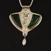 Jade, Pearl, Sterling Pendant 344