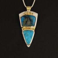 Chrysocolla, Hemimorphite Druzy, Sterling/Gold Pendant 375