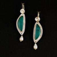 Blue Opal Wood, Pearls, Sterling Earrings 222