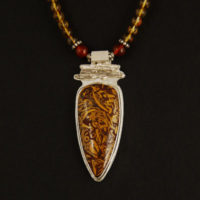 Indian Script Stone, Citrine, Sterling Pendant 390