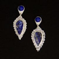 Lapis Pyrite Druzy Sterling Earrings 228