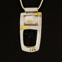 Rutilated Quartz, Carved Onyx Druzy, Sterling, Gold Pendant 395