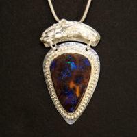 Boulder Opal Sterling Pendant 401