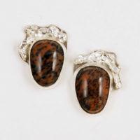 Cheetah Agate, Sterling Earrings 158
