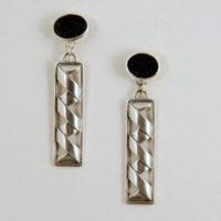 Onyx Druzy, Sterling Earrings 204
