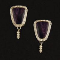 Sugalite, Pearl Earrings 209