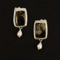 Golden Seraphenite, Pearls, Sterling Earrings, 224