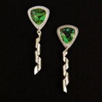 Green Turquoise, Sterling Earrings 225
