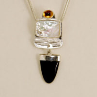 Mother -of-Pearl, Onyx, Citrine, Sterling Pendant 396