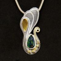 Opal, Sterling, 14K gold Pendant 397